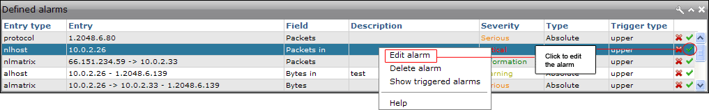 "Edit alarms Alarms can be edited in both the ""Main"" and ""Traffic Statistics"" tab."