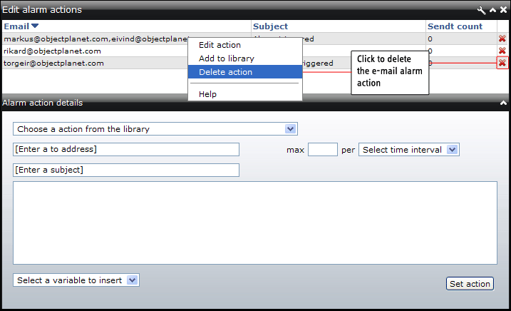 "Remove e-mail alarm actions E-mail alarm actions can be removed by clicking the remove button in the actions tables or choosing ""Delete action"" from the right click menu."