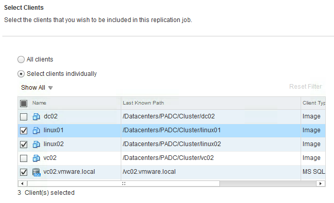Figure 7. Backup Selection in a Replication Job The replication job can be scheduled to run daily, weekly, or monthly.