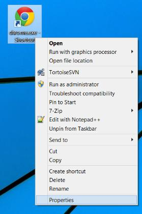 The smart way (3) Open the shortcut properties window Go to your Desktop, right click on the just created Chrome shortcut icon, and