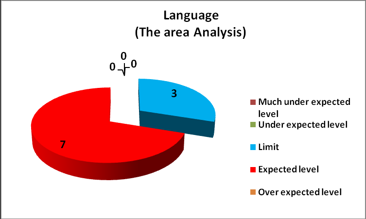 Figure # 10: THE ANALYSIS ON THE LANGUAGE (10 subjects-children with ADHD) Solving tasks in the field of language was possible in some children with ADHD, just by repeating instructions and their