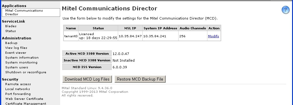 MITEL COMMUNICATIONS DIRECTOR (MCD) FOR ISS AND VMCD RELEASE