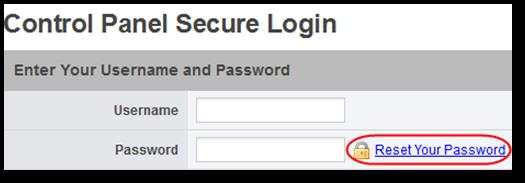 Resetting your Control Panel password. Open a web browser and navigate to https://www.controlpanel.co.uk. Click the Reset Your Password link.