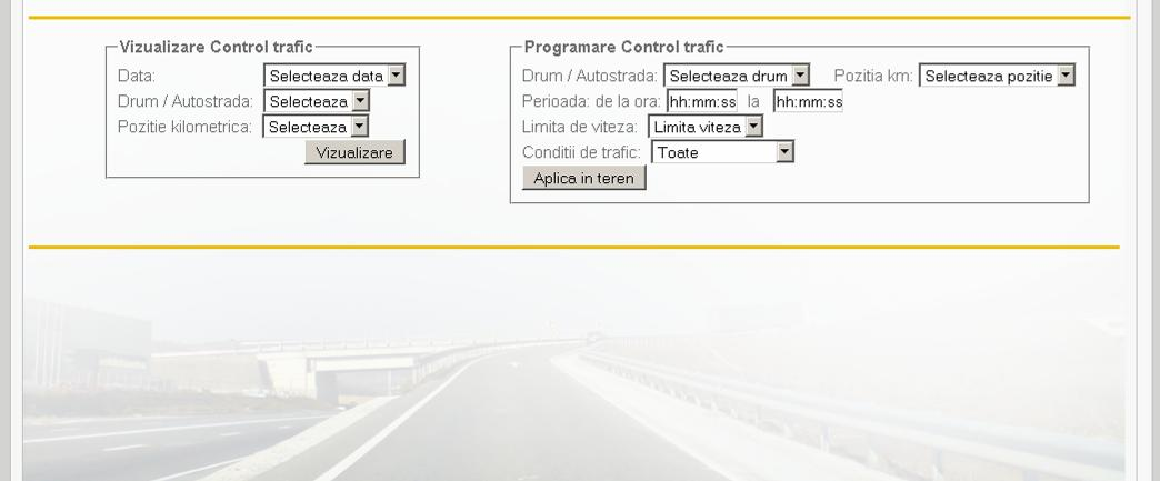 The information is attached to the key Control Trafic in Vizualizare Control trafic and can be found after selecting date, and kilometre at which the equipment is situated.
