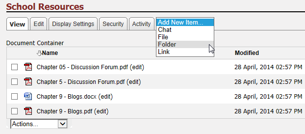 IV. Creating File Folders Step 1 Click the Add New Item dropdown menu and select Folder.