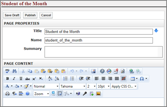 Step 2. Enter a name into the Title field. This title will appear in the dropdown menu from the Administrative Tool Bar.