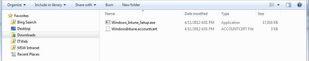 To install the client software on a computer 1. Open the folder where you saved the installation package. 2. Double click the Windows_Intune_Setup.