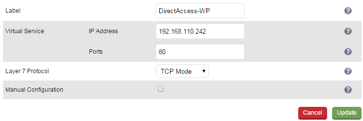 C - Configuring Load Balancing for Connectivity Verifier (Web Probe) Servers Setting up the Virtual Service (VIP) Go to Cluster Configuration > Layer 7 Virtual Services and click [Add a New Virtual
