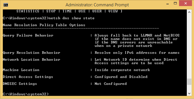 Verify Client Location Using netsh dns show state When inside the corporate