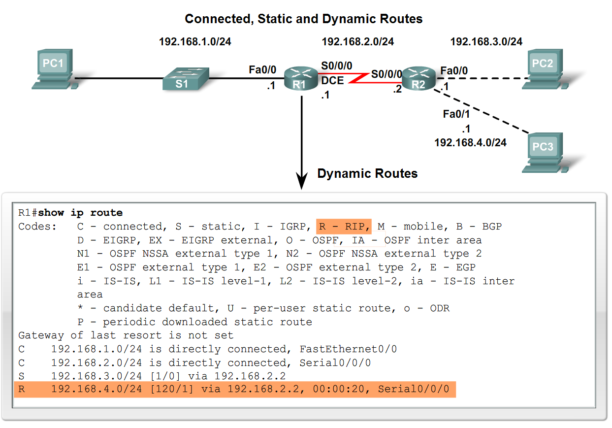Routing Table Structure Maintaining routing tables -Dynamic routing protocols are used to share routing information with other router &