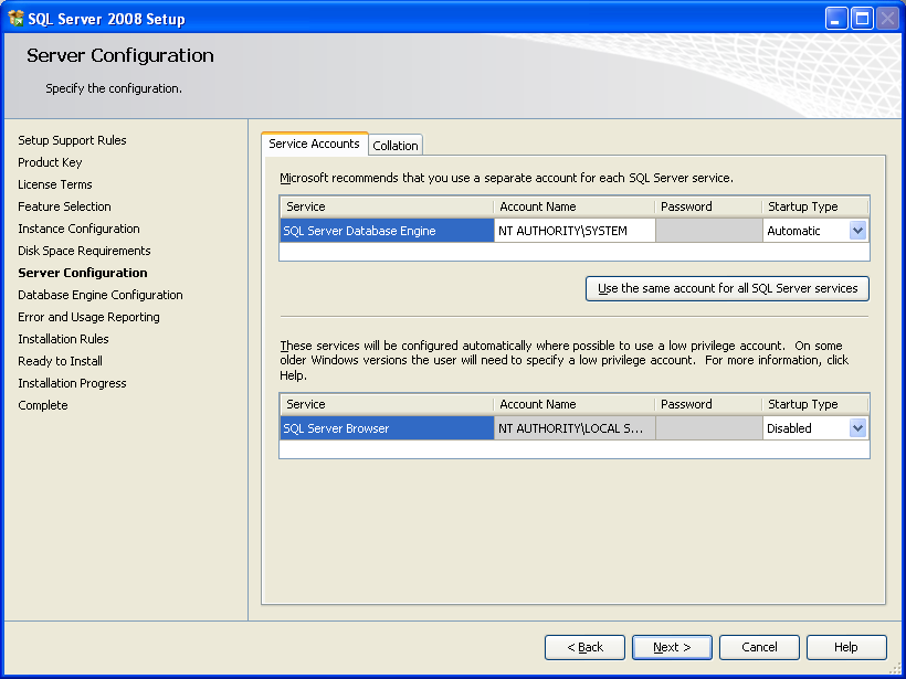 SQL Server Express Installation Figure 3-11: SQL installation server configuration 12.