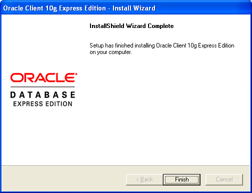 Oracle XE Installation Oracle Client Expression Edition Figure 4-23: Oracle