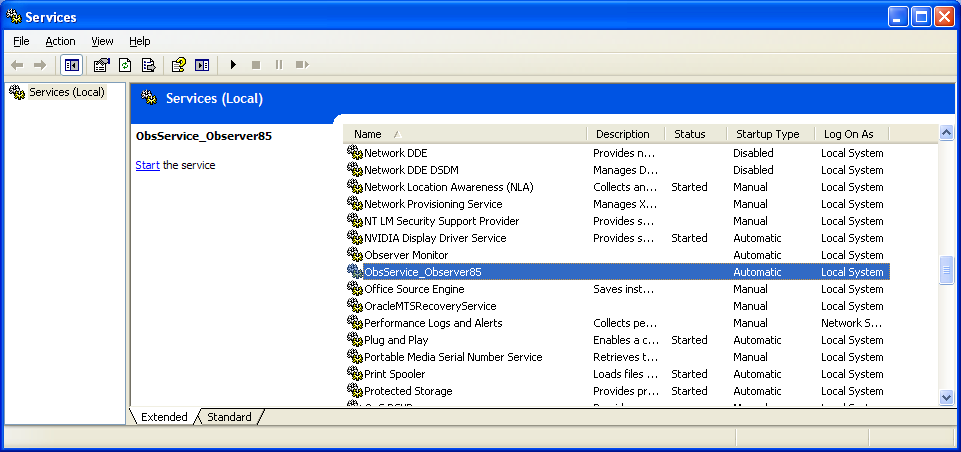 Monitor Service Figure 7-44: Example of Window's interface Services 3.