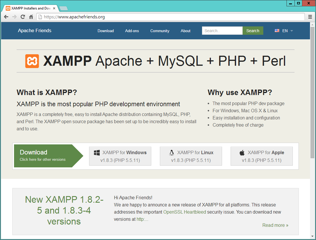 Figure 2-1. The XAMPP website I recommend that you always download the latest stable release (in this instance, it s 1.8.
