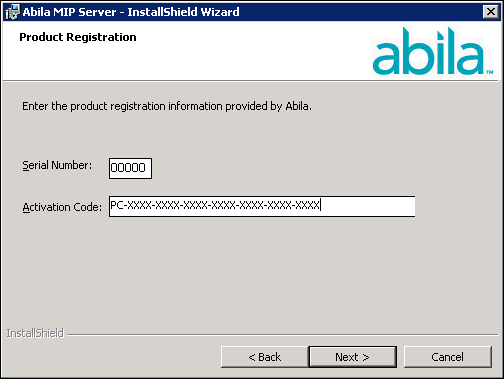 Server Install 6. Click Next. The system displays the Product Registration panel, with your current Serial Number and Activation Code.