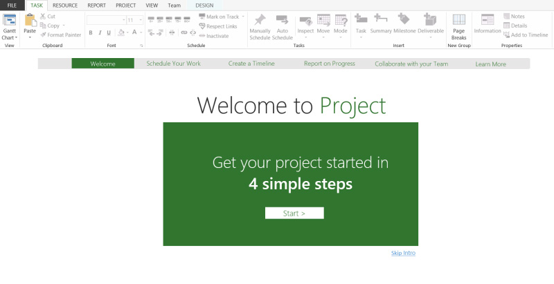 Click File > New, then get your project going. If you re new to project management, Project 2013, can give you a great running start with the built-in Project guide.