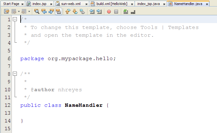 Edit the Java Class Java Package Declare a String variable inside the class declaration.
