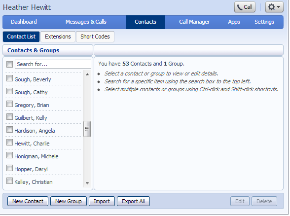 Contacts The Contacts tab enables you to manage all of your contact information.