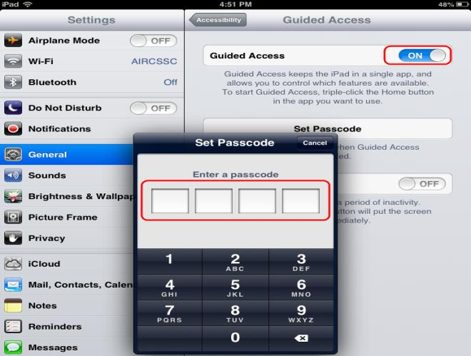 Enabling Guided Access Note: The instructions in this section are for ios 6.0. Some icons may be different for ios 7.0 and 7.1 1.
