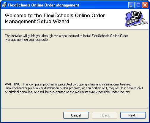 1. Install the FlexiSchools Online Order Management Software From the Installation Pack disc double click on the file FOOM_Setup_X_X.
