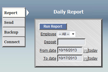 The Client ID field in the picture below appears only for multi-client offices. 2. Use the drop down menu to select a specific Employee or leave 'All' for a report for all employees on that machine.