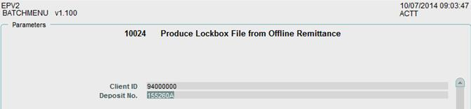 2. After batch menu no. 10023 finishes successfully or if you did not create a csv file, run batch menu no. 10024, Produce Lockbox File from Offline Remittance.