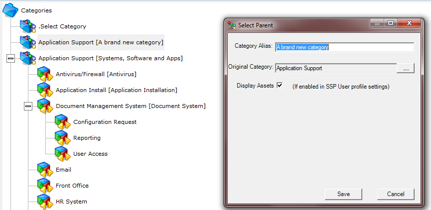 4.5. Category Aliases Category Aliases allow a different category description to that used by the service desk.