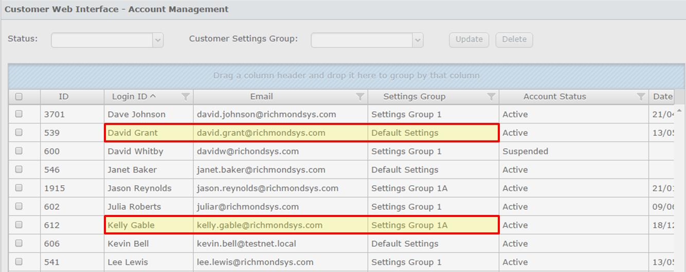 In the examples below there are multiple customer settings groups configured in the Setup Console.