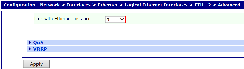 3.2 Ethernet 2 (Logical) Configuration Please Note: The logical Ethernet Interface number will vary depending on the device being used.
