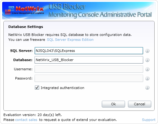 3.3.2. Configuring the Product 1. Enable blocking by selecting the Block USB devices check box. 2. In the field Active Directory domain, specify the name of the managed domain (e.g. ACME, or ACME.