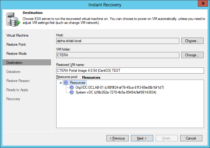 Restoring the CTERA VM from a Backup 3 The Destination screen appears. 3 In the Host area, click Choose, and then select the destination ESXi host.