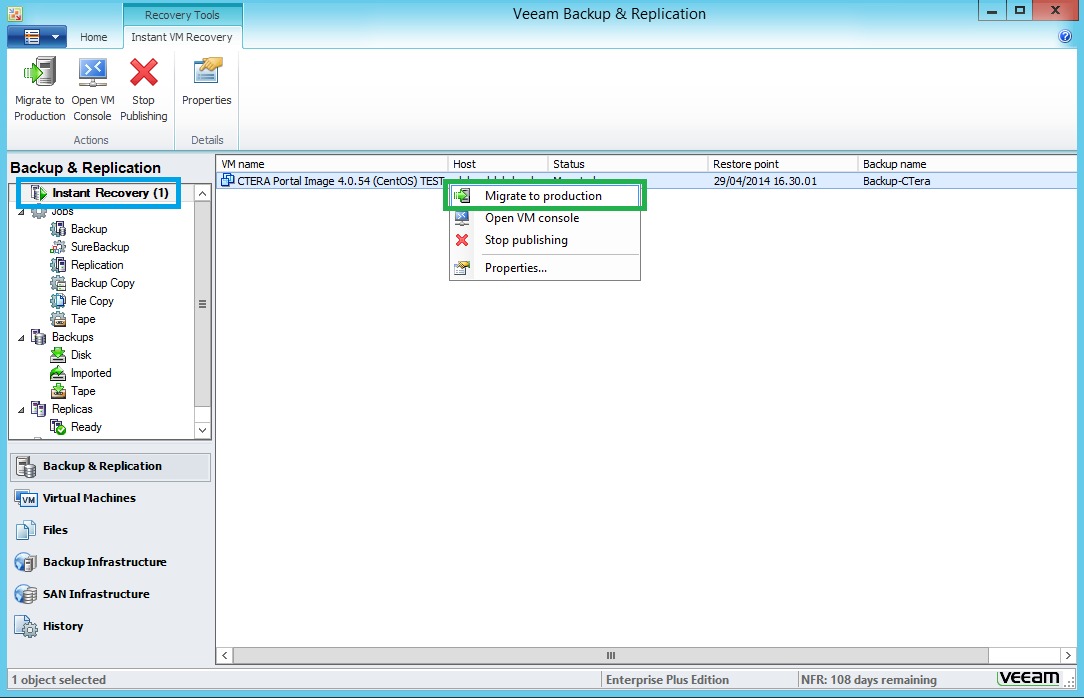 "3 Restoring the CTERA VM from a Backup Since we choose to perform an ""Instant Recovery"", the restored VM runs directly from its backup files, which are presented to the vcenter via the Veeam"