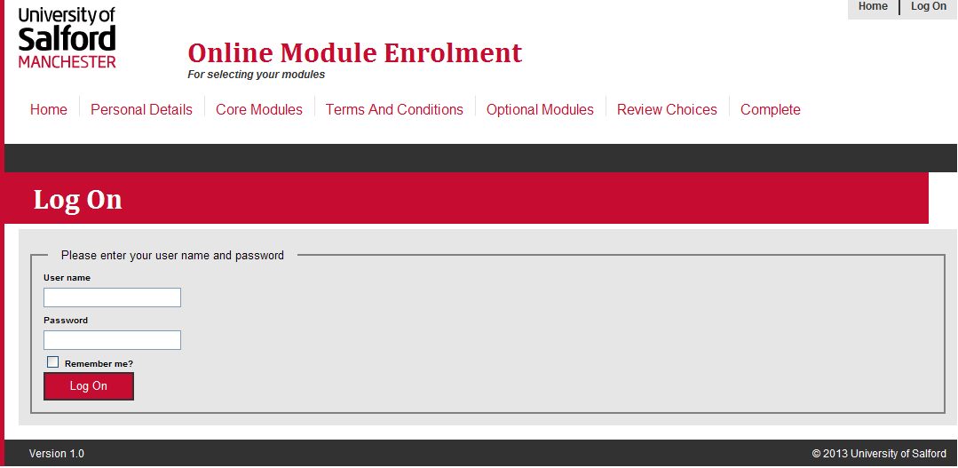 How to use the Online Module Enrolment Application Introduction This guide will take you through how to select your preferred optional modules for the new academic year using Online Module Enrolment.