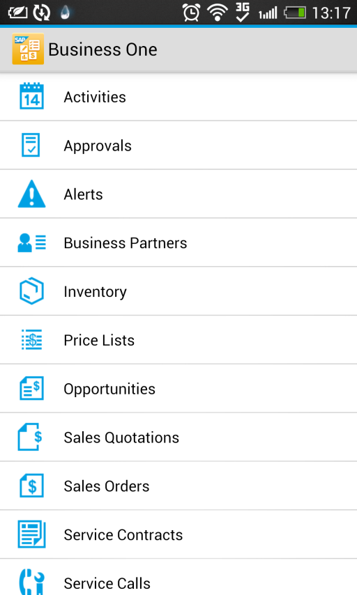 SAP Business One mobile app for
