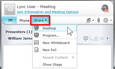 Distribute a file To share a file with other participants, do the following: At the top of the meeting window, click the Add or view attachments button.