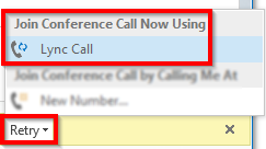 Notes on Unscheduled Meetings and Conference Calls Recipients of unscheduled meeting invites originated from the Invite More People option and Starting Lync Computer Conference Calls may experience