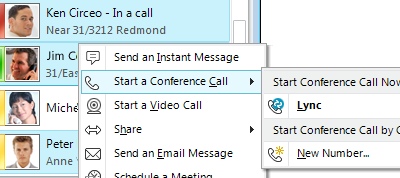 Web Conferencing with Microsoft Lync 19 Place a Voice Call You can start a phone call with one simple click. 1. In your Contacts list or search results, point to the contact, and then click the [Call] button.