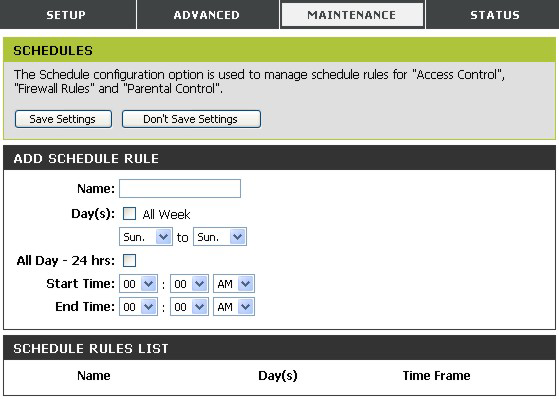 Schedules This window is used to create implementation schedules for Firewall Settings rules.