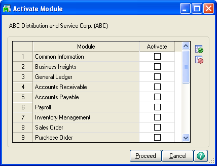 ...... Chapter 12 Performing System Startup 5 In the Activate Module window, select the module(s) to activate and click Proceed.