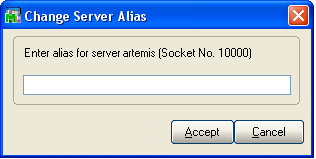 ...... Chapter 4 Installing Sage ERP MAS 200 SQL Select the server and socket number pair to alias by selecting the line and clicking Alias. The following window appears.
