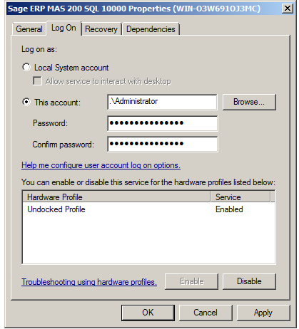 ... APPLICATION SERVER OVERVIEW... Change the logon user to the domain user that was created previously to run the Sage ERP MAS Application Server.