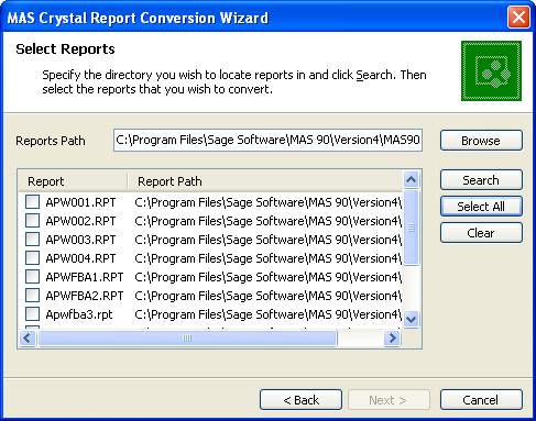 ...... Chapter 9 Installing Crystal Reports Designer 6 At the Reports Path field, enter the path, or click Browse and select the folder to search for reports that require conversion.