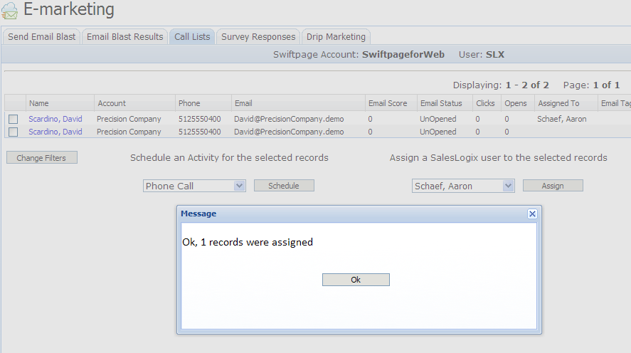 3. Once you have set the desired filters, click the Generate Call List button and the Call List will appear: 4.