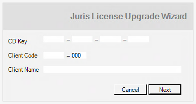 12. Click Install. The installation process begins. After a few moments, the Juris License Upgrade Wizard screen appears. 13.