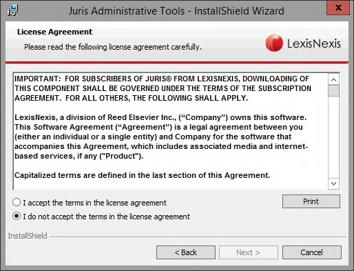 7. Click I accept the terms in the license agreement, and click Next.