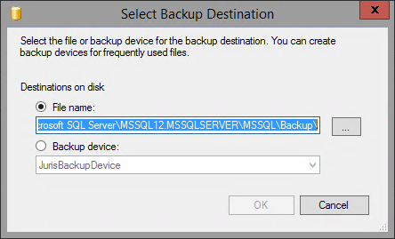 7. In the Source area on the right side of the dialog box, select the Juris database from the Database drop-down list. 8. From the Backup type drop-down list, verify that Full is selected. 9.