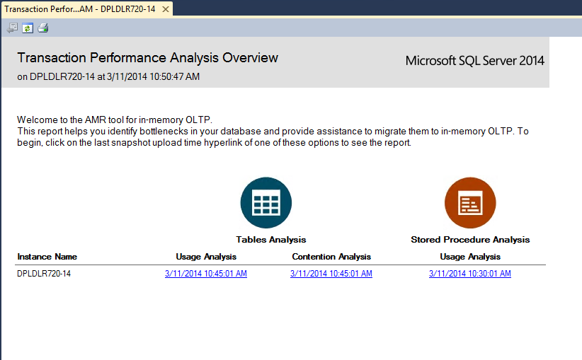 11. Right click the MDW database. Select Reports > Management Data Warehouse > Transaction Performance Analysis Overview. The AMR tool for In-Memory OLTP opens.