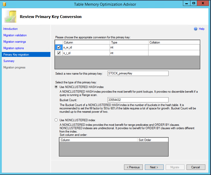 6. Select the appropriate primary key column(s) and hash bucket size