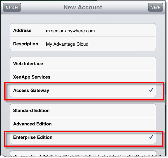 Tap the screen to select Access Gateway, Enterprise Edition.