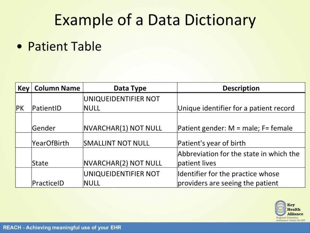 For the example shown in this presentation, the data dictionary shows that the patient table includes 5 columns of data.